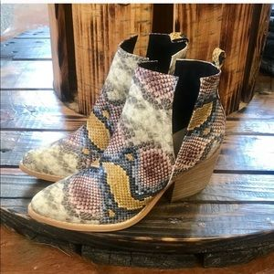 Shoes - Multi colored Snake Skin Bootie